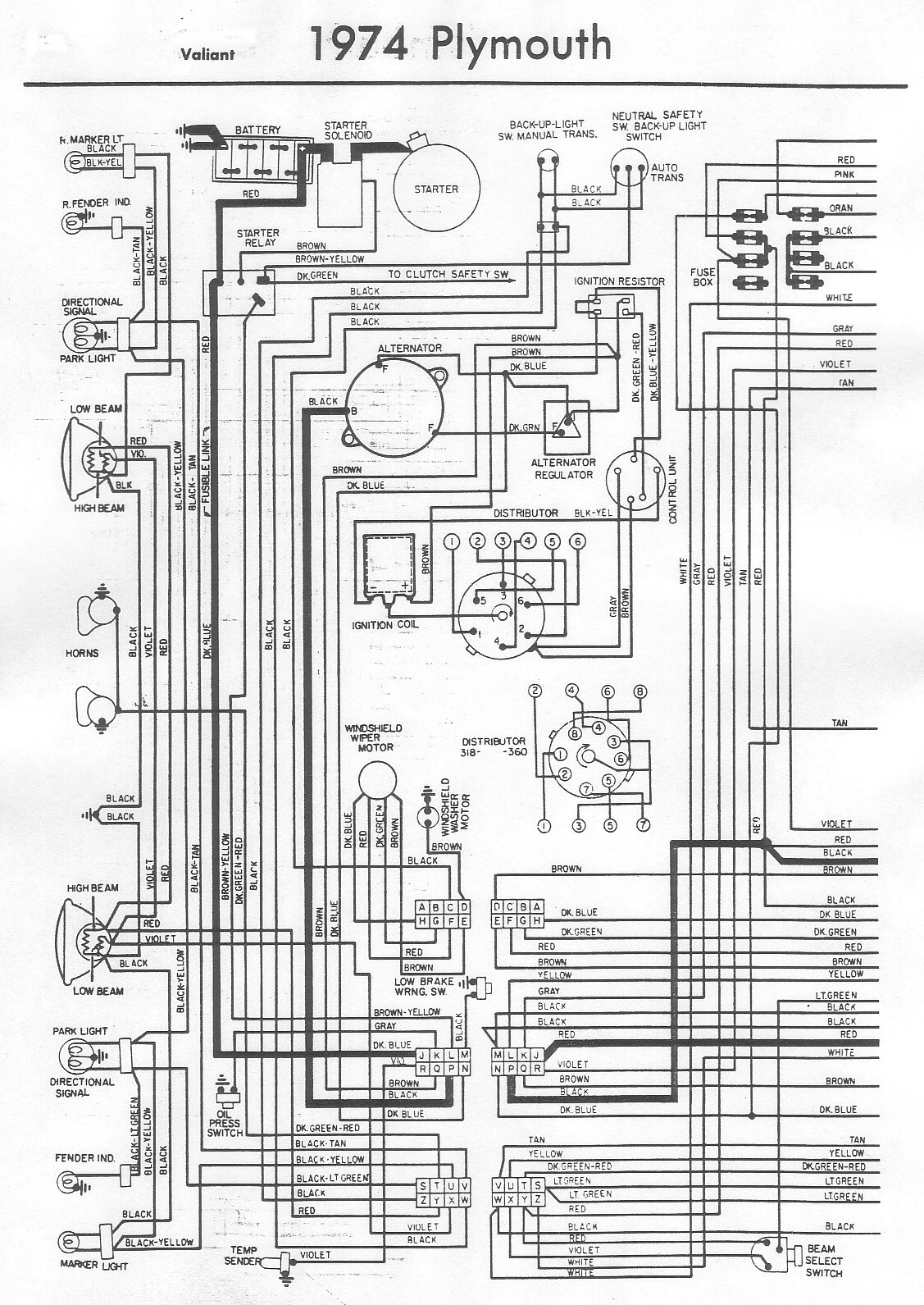 1967 Plymouth Fury Wiring Diagram Schematic