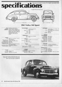 Volvo PV544 Sport Tekniset tiedot
